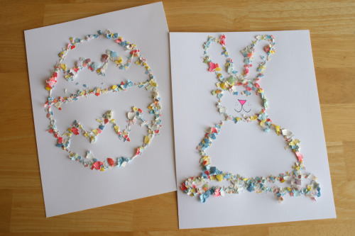 Easter Art Glittered with Crushed Egg Shells – Fun with Kids