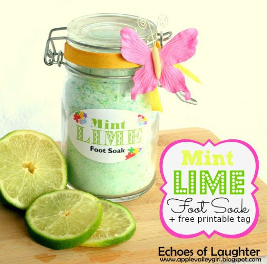 Echoes of Laughter: Mint Lime Foot Soak +Free Printable {Gift Idea}