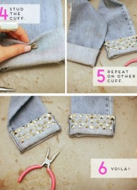 STUDDED CUFFS – A pair of jeans, studs of different shapes, and a plier