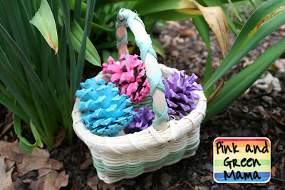 Kids Home Made Arts and Crafts by Pink and Geen Mama –  Spring Nature Craft: Pine Cone Eggs