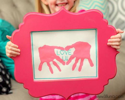 Love U Hand Prints Gift For Mothers Day