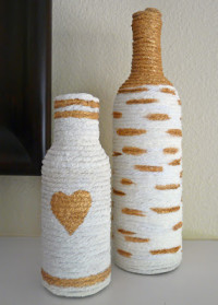 Paintable Yarn Bottles DIY