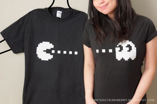 Minted Strawberry: DIY: Pacman + Ghost Couple Shirt with free Stencil!