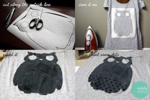 Minted Strawberry: DIY: Polka Dot Owl Shirt