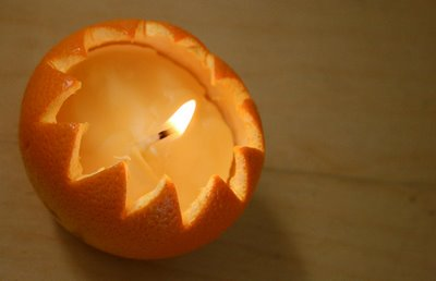 DIY Orange skin beeswax candles