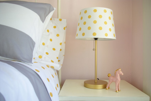 DIY Gold Polka Dot Lamp Shade | From Oleander and Palm