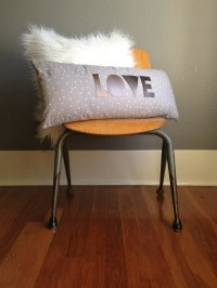 Pleather Appliqued LOVE Pillow