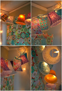 DIY cover plastic cups in fabric, attach to fairy lights