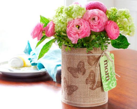 Stamped Burlap Vase / Mothers Day