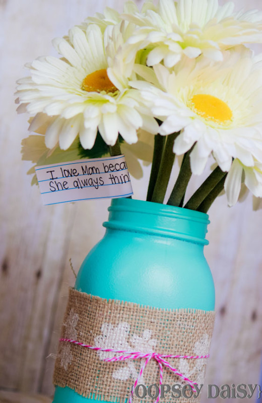 Stenciled Mason Jar Vase {For Mother's Day!} | From Oopsey Daisy