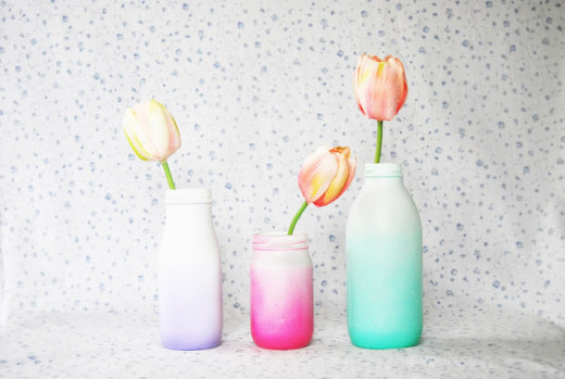 Spray Painted Ombre Glass Bottles from The Pink Doormat