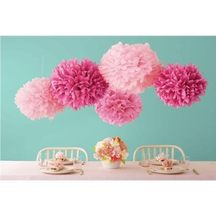 Martha Stewart Crafts Pom Poms, Pink, Sizes – Baby Shower Decorations