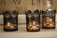 Black Lace Candles  | From Scissors + Thread