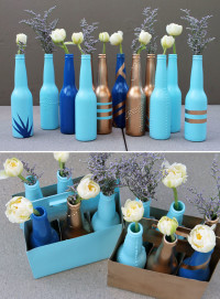 Transform Beer Bottles to Amazing Vases. | Original project from http://www.brit.co/diy-basics-beer-bottle-bud-vases/