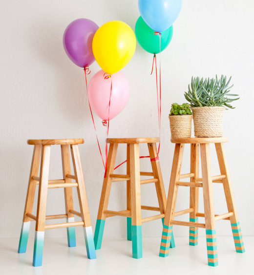 3 Ways to Make Color-Dipped Bar Stools | From Brit + Co.