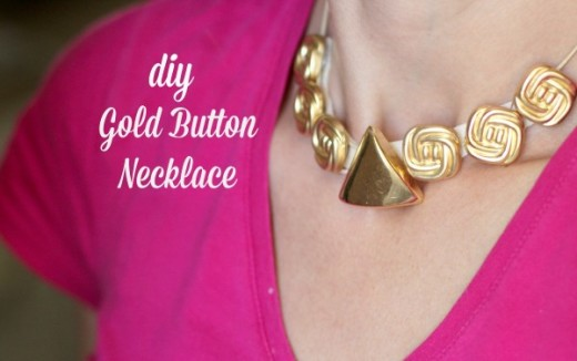 DIY Gold Button Necklace Tutorial | From My Crafty Spot