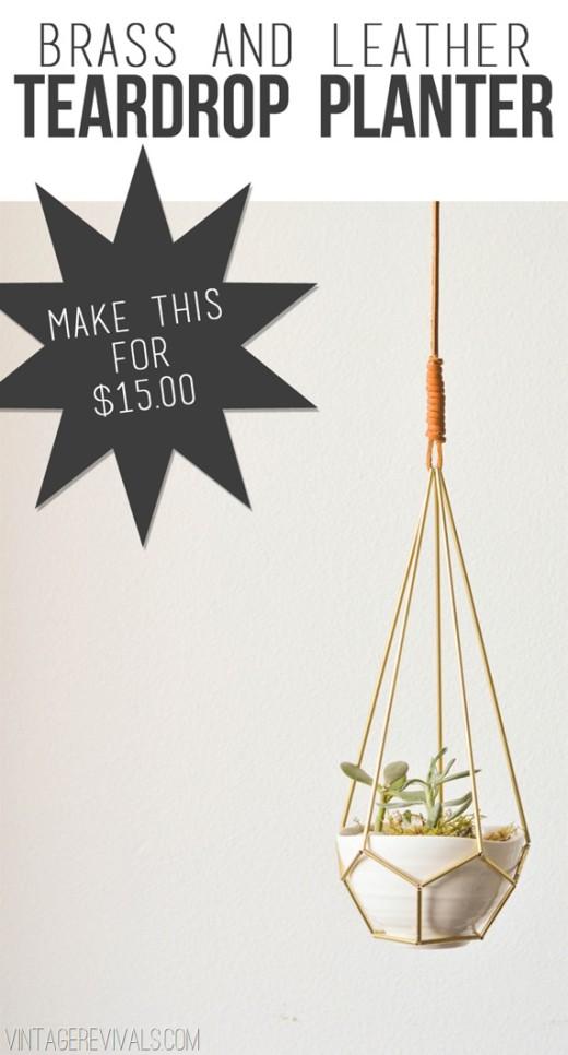 DIY Leather and Brass Teardrop Hanging Planter – Vintage Revivals