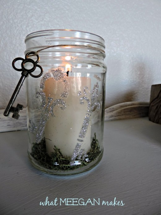 DIY Stenciled & Glittered Candle Holder | From What Meegan Makes