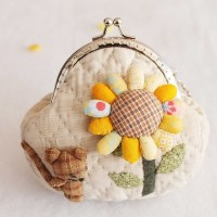 DIY Sunflower Patchwork Material Package Change Purse  Mini-pink Mice Metal-opening Bags