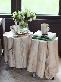 DIY Tree Stump Side Tables | From A Beautiful Mess