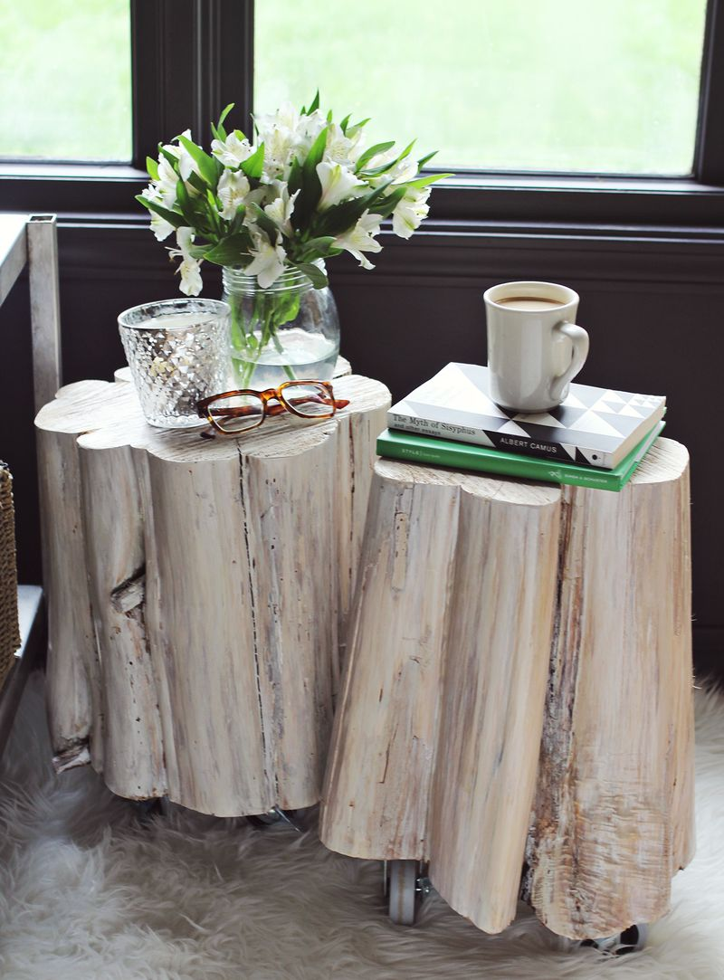 DIY Tree Stump Side Tables From A Beautiful Mess DIY Crafts - White stump side table