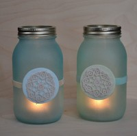 Faux beach glass mason jar lanterns | From Mod Podge Rocks