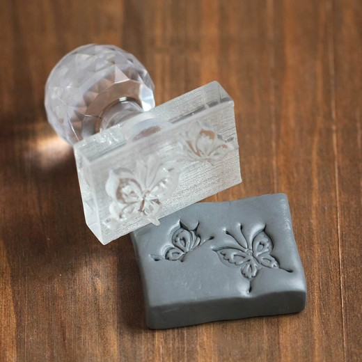 Flying Butterflies Square Transparent Crystal Soap Stamp Embossing Acrylic Beautiful