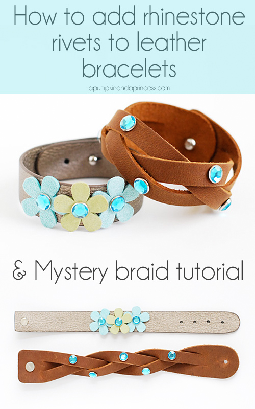 How to make rhinestone leather bracelets  | Great Mothers Day Gift | From A Pumpkin And A Princess