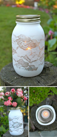 DIY Spray paint over lace mason jar vase