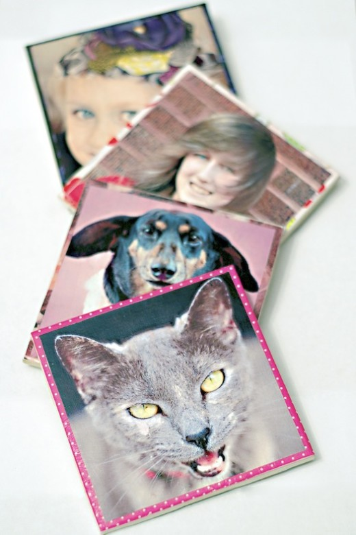 Make personalized photo coasters | From Mod Podge Rocks