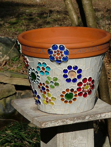 Mosaic Flower Pot made from stained glass and glass beads :: Hometalk
