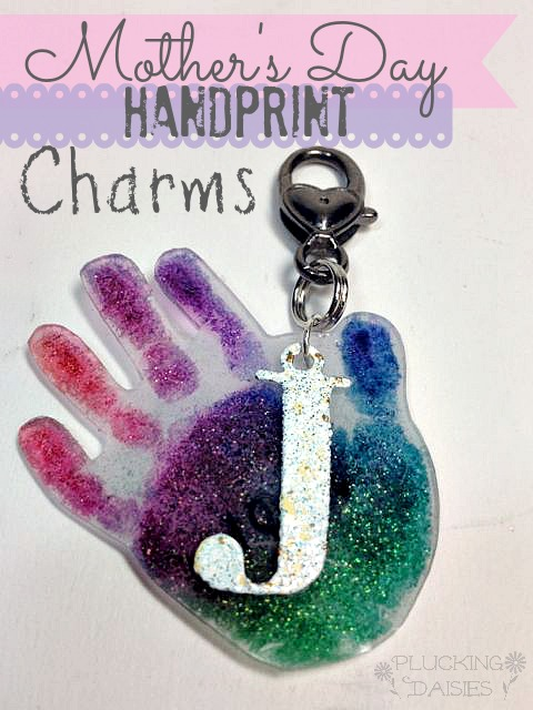 Mother's Day Craft for Kids  – Hand Print Charms | From Plucking Daisies