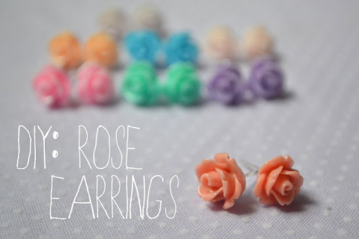DIY Cute rose earrings
