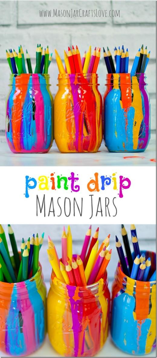 Paint Drip Mason Jars DIY