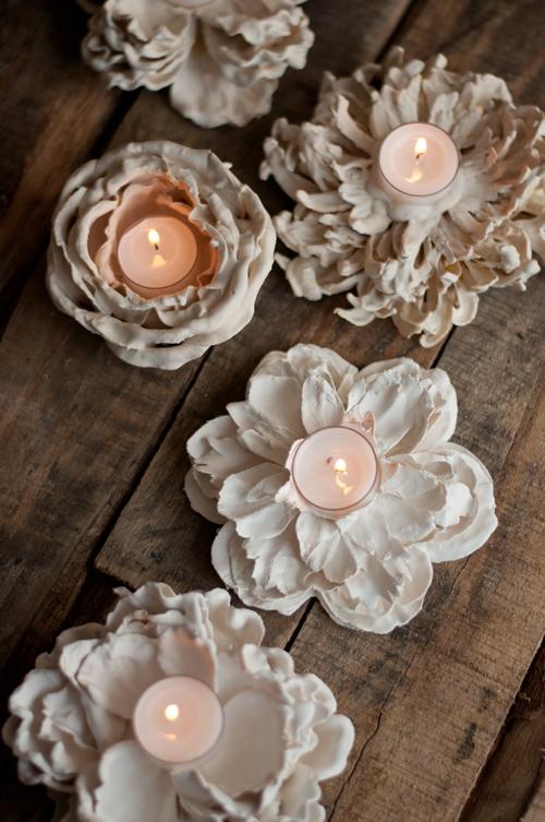 Plaster Flower Votives | DIY From designmom