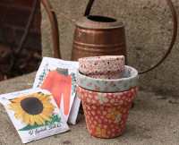 D.I.Y. Fabric Covered Flower Pots | From Christine Chitnis