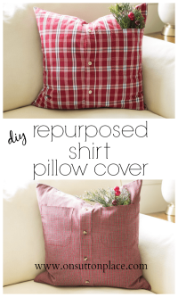 Repurposed Shirt Pillow Cover | From On Sutton Place