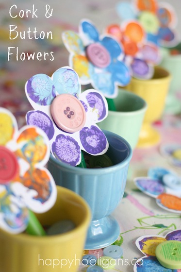Stamped Flower Craft with Corks and Buttons