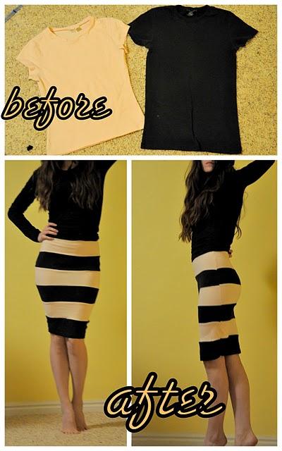 DIY Striped Bodycon Skirt