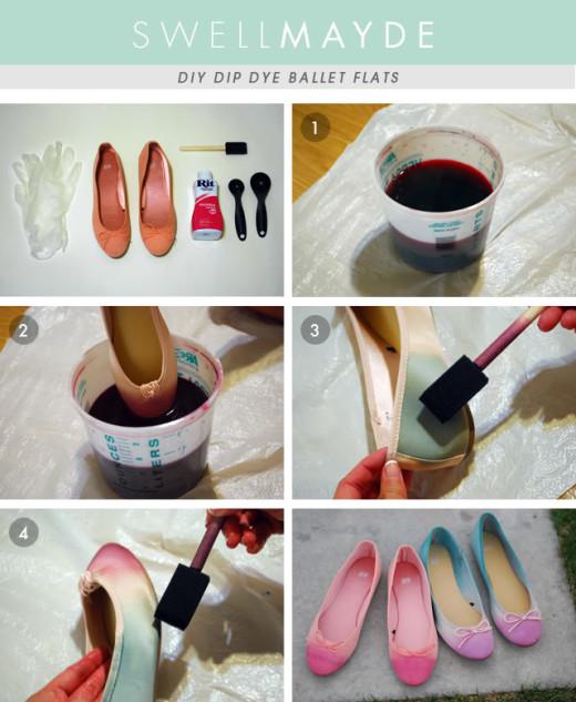 DIY Dip Dye Ombre Ballet Flats | From swellmayde