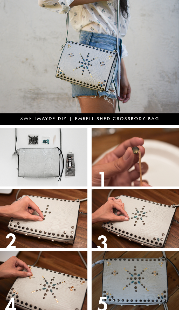 diy embellished crossbody bag | from swellmayde | diy & crafts