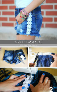 DIY Lace Trim Denim Shorts | swellmayde