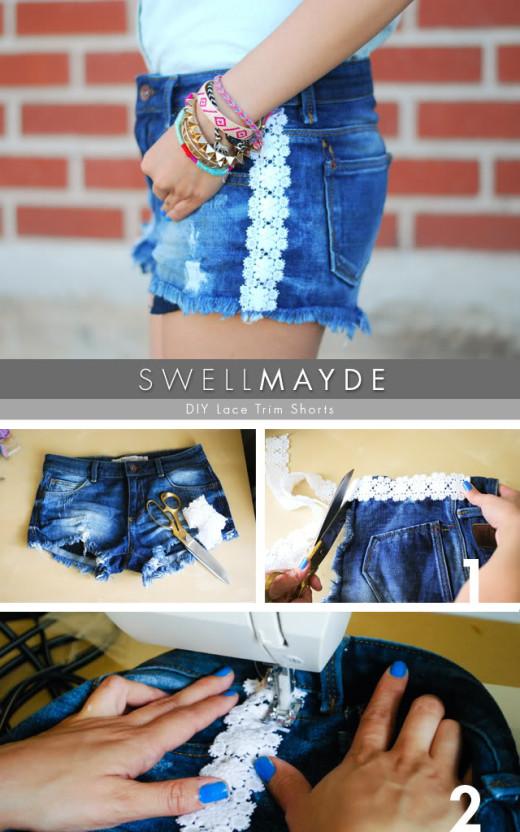 DIY Lace Trim Denim Shorts | swellmayde