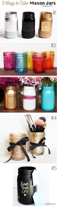 5 Ways to Color Mason Jars.  Master bathroom makeup holders