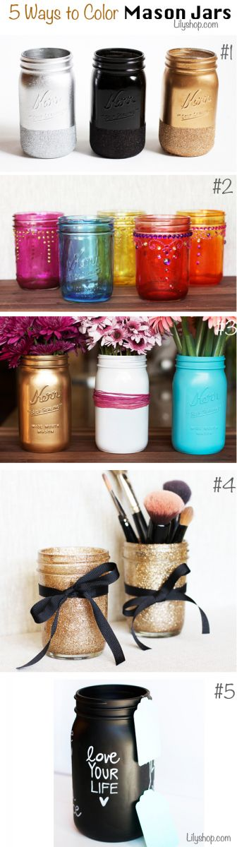 5 Ways to Color Mason Jars.  Master bathroom makeup holders