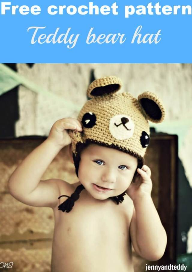 Teddy bear hat free crochet pattern  58346ccac33