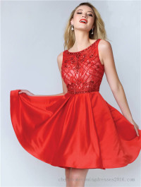 Abby Paris 8143 Beaded Short Red Lace Prom Dress
