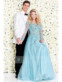 Long Sleeves Scoop Neck Yarn Back Beaded Appliqued Tulle Long Prom Ball Gown