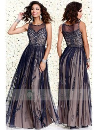 Sleeveless Scoop Neck Geometric Beaded Chiffon A-line Long Prom Dress