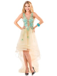 Sleeveless Scoop Neck Three Layered Tulle High Low Prom Dress with Flowers